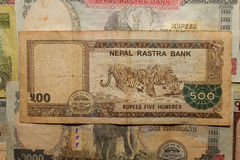 Biglietto del Nepal Banconote delle denominazioni differenti Immagini Stock