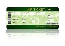 Biglietto del passaggio di imbarco di linea aerea di Natale isolato sopra bianco Fotografia Stock