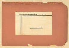 Biglietto dell'annata su vecchio documento Immagine Stock Libera da Diritti
