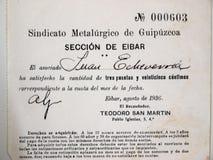 Biglietto della tassa del sindacato del lavoro in metallo di Eibar Guerra civile spagnola immagini stock libere da diritti