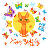 Biglietto di auguri per il compleanno con Cat And Butterfly Cartolina d'auguri Carta puerile dolce con il gatto adorabile Fotografia Stock Libera da Diritti