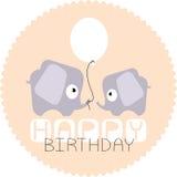 Biglietto di auguri per il compleanno con due elefanti e palloni Fotografie Stock Libere da Diritti