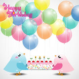 Biglietto di auguri per il compleanno con gli uccelli svegli Fotografia Stock Libera da Diritti