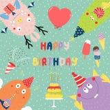 Biglietto di auguri per il compleanno con i mostri divertenti svegli royalty illustrazione gratis