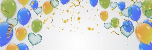 Biglietto di auguri per il compleanno con i palloni verdi e blu Buon compleanno illustrazione vettoriale