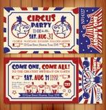 Biglietto di auguri per il compleanno con il biglietto del circo Fotografia Stock Libera da Diritti