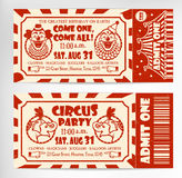 Biglietto di auguri per il compleanno con il biglietto del circo Immagine Stock