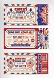 Biglietto di auguri per il compleanno con il biglietto del circo Fotografia Stock