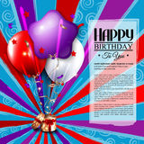 Biglietto di auguri per il compleanno con il contenitore di regalo aperto, palloni e Immagini Stock Libere da Diritti