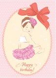 Biglietto di auguri per il compleanno con la ragazza. Illustrazione di vettore Fotografie Stock