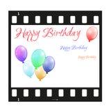 Biglietto di auguri per il compleanno con la striscia di pellicola Immagini Stock