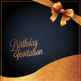 Biglietto di auguri per il compleanno con progettazione nera del fondo Fotografie Stock