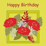 Biglietto di auguri per il compleanno con un mazzo dei fiori su un fondo giallo Fotografia Stock