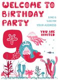 Biglietto di auguri per il compleanno dell'invito del partito royalty illustrazione gratis