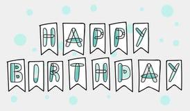 Biglietto di auguri per il compleanno ed insegna felici di vettore Fotografia Stock