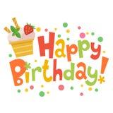 Biglietto di auguri per il compleanno felice con il gelato sveglio Fotografia Stock