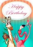 Biglietto di auguri per il compleanno felice con gli animali divertenti Fotografia Stock