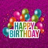Biglietto di auguri per il compleanno felice con i coriandoli ed i palloni Vettore Eps10 illustrazione vettoriale