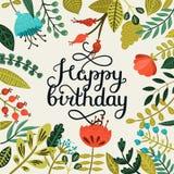 Biglietto di auguri per il compleanno felice con iscrizione disegnata a mano Fotografie Stock