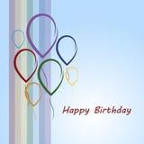 Biglietto di auguri per il compleanno felice con l'arcobaleno ed i palloni Fotografia Stock