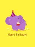 Biglietto di auguri per il compleanno felice con l'elefante sveglio Immagini Stock Libere da Diritti