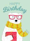 Biglietto di auguri per il compleanno felice con l'orso Immagine Stock Libera da Diritti
