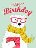 Biglietto di auguri per il compleanno felice con l'orso Fotografia Stock Libera da Diritti