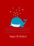 Biglietto di auguri per il compleanno felice con la balena sveglia Fotografia Stock Libera da Diritti