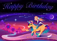 Biglietto di auguri per il compleanno felice con la ragazza che guida l'unicorno royalty illustrazione gratis