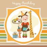 Biglietto di auguri per il compleanno felice con la ragazza, gli animali ed i bigné divertenti Fotografia Stock