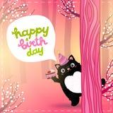 Biglietto di auguri per il compleanno felice con un gatto grasso sveglio Fotografia Stock