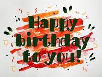 Biglietto di auguri per il compleanno felice dell'acquerello per dare immagine stock libera da diritti