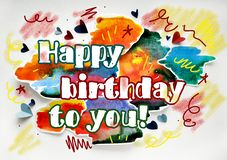 Biglietto di auguri per il compleanno felice dell'acquerello per dare immagini stock