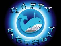 Biglietto di auguri per il compleanno felice della balena con fondo blu affinchè nuotino nel mare per i bambini nel vettore fotografia stock