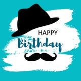 Biglietto di auguri per il compleanno felice per l'uomo con il cappello ed i baffi royalty illustrazione gratis