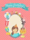 Biglietto di auguri per il compleanno felice per la ragazza Fotografie Stock Libere da Diritti