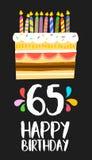 Biglietto di auguri per il compleanno felice 65 sessanta dolci quinquennali Immagini Stock