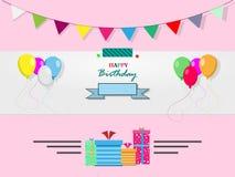 Biglietto di auguri per il compleanno felice su un fondo rosa Immagine Stock Libera da Diritti