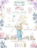 Biglietto di auguri per il compleanno felice sveglio con il coniglietto del fumetto Fiori di rosa di boho di clipart e di bellezz illustrazione di stock