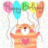 Biglietto di auguri per il compleanno felice sveglio con il gattino divertente Immagine Stock