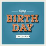Biglietto di auguri per il compleanno felice, tipo della fonte tipografica Immagini Stock