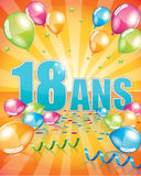Biglietto di auguri per il compleanno francese 18 anni Immagine Stock