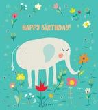 Biglietto di auguri per il compleanno per i bambini con l'elefante ed i fiori - progettazione divertente Fotografia Stock