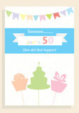 Biglietto di auguri per il compleanno per il cinquantesimo compleanno illustrazione di stock