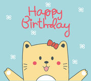 Biglietto di auguri per il compleanno sveglio del gatto Immagine Stock Libera da Diritti