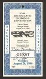 Biglietto di convenzione Democratic 1996 fotografie stock libere da diritti