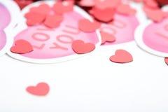 Biglietto di S. Valentino: Chiuda su su Valentine Hearts Immagine Stock Libera da Diritti
