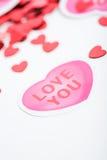 Biglietto di S. Valentino: Chiuda su su Valentine Hearts Fotografia Stock Libera da Diritti