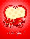 Biglietto di S. Valentino come cuore con l'arco Immagini Stock