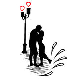 Biglietto di S. Valentino con le coppie nell'amore Immagini Stock